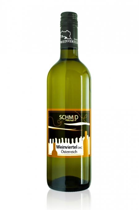Grüne Bordeausflasche mit Weingut Schmid Etikett Weinviertel DAC 2016 Junge Reben